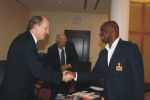 Rivers State Governor, Rt. Hon. Chibuike Amaechi (right) in a handshake with Mr. Bob Dewar, British High Commissioner to Nigeria during a courtesy call to Government House, Port Harcourt, last Friday