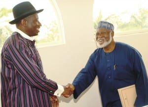 Acting President, Goodluck Jonathan (left) with former Head of State, Gen.Abdusalami Abubakar, after briefing the Acting President on the situation in Niger Republic in Abuja, on Saturday.