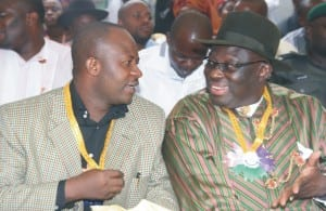 Chairman of the occasion and chairman Greater Port Harcourt Authority, Chief Fred Alabraba (right) conferring with Rivers State Commissioner for Local Government and Chieftaincy Affairs, Hon Tammy Danagogo during the commissioning of the new Iju-Jack Memorial Hall, built by Hon Onari Brown of the Rivers State House of Assembly, at Abonnema, last Saturday.