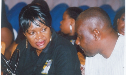 Secretary to Rivers State Government, Hon Magnus Abe (right) conferring with the Head of Service, Rivers State, Mrs Esther Anucha, during the service of songs in honour of late Hon Moses Ahubele, the state Commissioner for Employment Generation and Empowerement at Civic Centre, Port Harcourt, Wednesday. Photo: Chris Monyanaga