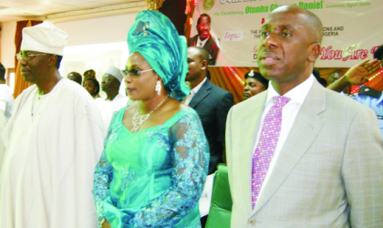 The Celebrant, Governor Gbenga Daniel of Ogun State (left), his wife Olufunke and Rivers State Governor, Chibuike Rotimi Amaechi,  at the 54th birthday anniversary lecture of Governor Daniel in Abeokuta, yesterday
