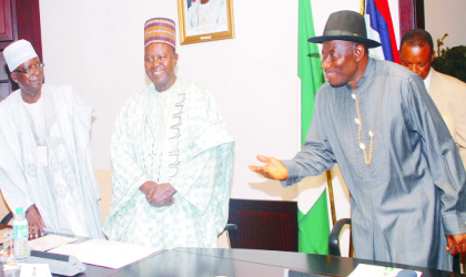 Acting President Goodluck Jonathan (right), Chairman Committee on Jos crisis, Chief Solomon Lar (centre), and Vice Chairman, Amb. Yahaya Kwande,  at a meeting on Jos crisis, in Abuja, last Tuesday. Photo: NAN