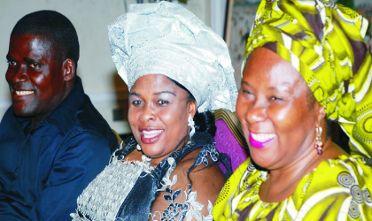 Wife of the Acting President, Mrs Patience Goodluck Jonathan  (centre),Mrs Josephine Anenih (right) and the chairman, State House Press Corp, Mr Daniel Idono, during the Easter party for the Corp in Abuja, last Friday.