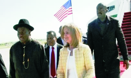 Nigeria's Acting President Goodluck Jonathan, (left), arrives the Andrews Air-force Base Airport, Washington DC, United States of America, while on a four-day working visit. He was recieved by the US Ambassador to Nigeria, Ms Robin Sanders, yesterday