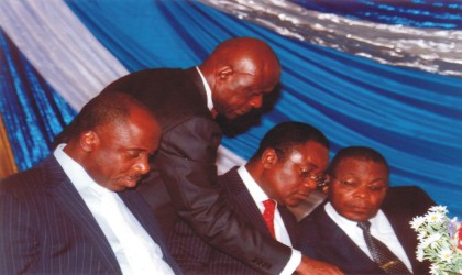 L-R: Rivers State Governor, Rt Hon Chibuike Rotimi Amaechi, Attorney-General and Commissioner for Justice, Mr Ken Chikere, Chief Judge of Rivers State, Justice Iche Ndu and President of Customary Court of Appeal, Justice Peter Agumagu, during the administration of Justice sector stakeholders interactive forum 2010, at the state Ministry of Justice, Port Harcourt, on Thursday. Photo: Chris Monyanaga