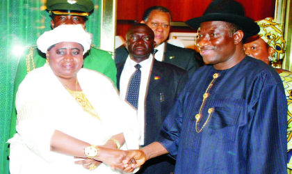 President Goodluck Jonathan (right), welcoming the Gambian Vice President, Aja Aisatou Njie-Saidey, during her condolence and congratulatory visit to the Presidential Villa in Abuja, last Monday.  Photo: NAN