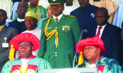 President Goodluck Jonathan (left) and Governor Mohammed Goje, at the first convocation ceremony of Gombe State University in Gombe last Saturday.  Photo: NAN.