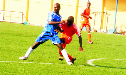 Mighty Sparrows' Francis Edookor (14) scorer of his team's goal against Ministry of Health, yesterday.