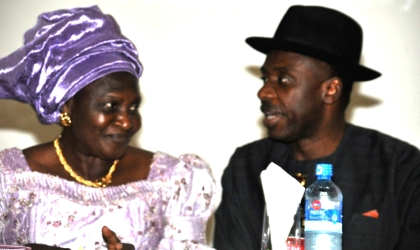 Rivers State Governor, Rt. Hon. Chibuike Rotimi Amaechi (right) conferring with Mrs Helen David Mark, wife of the Senate President at the opening ceremony of the first Commonwealth of Women Parliamentarians (CWP) Conference of West African Sub-region held in the Rivers State House of Assembly complex, Port Harcourt.