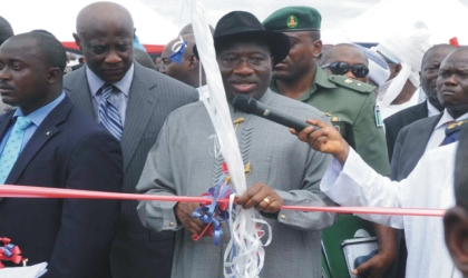 President Goodluck Jonathan (middle) inaugurating Nigeria Security and Civil Defence Corps Academy in Abuja, last Friday. With him is Minister of Interior, Capt Emmanuel Iheana