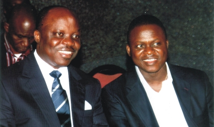 Delta State Governor, Dr Emmanuel Uduaghan (left) chatting with Chief Timi Alaibe, Special Adviser to the President on NDDC Matters, during the Nigerian Guild of Editors Conference in Port Harcourt, last Friday. Photo: Chris Monyanaga