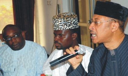 L-R: Son of Late M.K.O Abiola, Jamiu Abiola, Co-ordinator of Action Group of Nigeria, Mr Olawale Okuniyi, and Prof. Pat Utomi at the stakeholders' Colloquium in commemoration of the 17th anniversary of June-12, 1993 in Lagos,last Saturday.