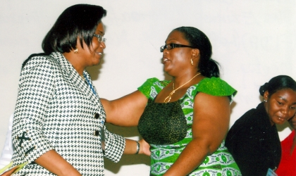 Representatives of the wife of Rivers State Governor and Commissioner for Women Affairs, Mrs Manuela Izunwa (right) conferring with Mrs Ezinwa Okoroafor, Vice President (FIDA) at the National Executive Committee meeting, at Rivers State House of Assembly Auditorum, Port Harcourt, yesterday. Photo Chris Monyanaga