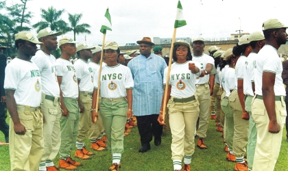 Rivers State Deputy Governor, Engr Tele Ikuru (middle) inspecting a parade during the passing out ceremony of 2009 Batch B members of National Youth Service Corps (NYSC) at Isaac Boro Park, Port Harcourt, yesterday.