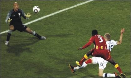 Ghana's Asamoah Gyan (3) firing home the winning goal in yesterday's round 16 match against USA