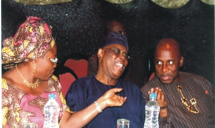 Rivers State Governor, Rt Hon Chibuike Rotimi Amaechi, former Governor of Ogun State, Chief Segun Osoba and Deputy Governor of Lagos State, Princess Sarah Adebisi Sosan chatting during the Nigerian Guild of Editors conference held in Port Harcourt, penultimate week