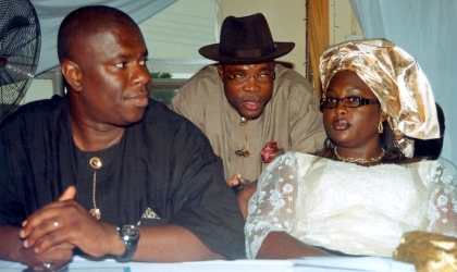 Rivers State Commissioner for Urban Development, Hon Osima Ginah (middle) chatting with Commissioner for Works, Hon Dakuku Peterside (left) and Commissioner for Women Affairs, Hon Manuela George-Izunwa at the reception organised by the Bakana community development Association, for five eminent citizen of Bakana in Degema Local Government Area of Rivers State.