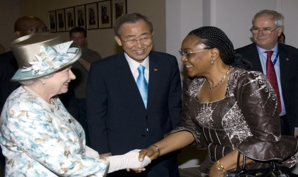 Nigeria's Permanent Representative to the United Nation and Security Council President for July, Prof Joy Ogwu (right), in a handshake with Queen Elizabeth II during her recent visit to the UN. Middle is UN Secretary-General, Ban Ki-Moon. Photo: NAN