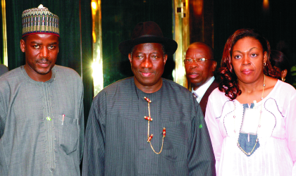 President Goodluck Jonathan (middle), Minister of State for Foreign Affairs, Dr Idi Hong (left) and Mrs Modri Marie Generose, Special Envoy of Cote d' Ivorie during her visit to the Presidential Villa, Abuja, yesterday.