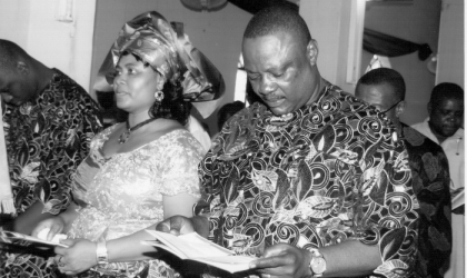 The Tide Editor, Soye Wilson Jamabo and wife, Duma, at the special thanksgiving service at St James Church, Ogoloma to mark the editor's 49th birthday, at the weekend
