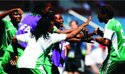 Falconets' leading scorer, Desire Oparanozie (9) celebrating one of her goals with the bench at the weekend
