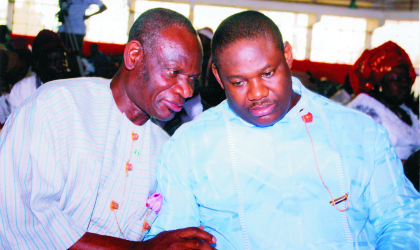 Deputy Governor of Rivers State, Engr Tele Ikuru (right) chatting with Deacon Braiye Ekiye, Special Adviser to the President on Parastatals and Inter-Governmental Affairs, who represented the president at the inaugural ceremony of Ijaw Youth Council at Civic Centre, Moscow Road, Port Harcourt on Saturday.