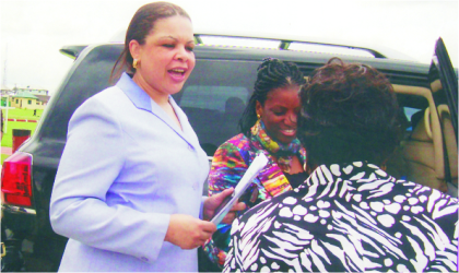 Rivers State Commissioner for Water Resources, Ms Patricia Simon-Hart (left)and Mrs Patricia Muzan, Representative of Commissioner for Education, welcoming wife of the Governor, Dame Judith Amaechi during the Global Handwashing Day celebrations in Port Harcourt, last Friday.