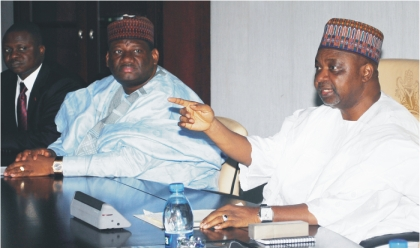 From right: Vice President, Namadi Sambo, Minister of Transport, Alhaji Yusuf Suleiman and Special Assistant to the President on the Niger Delta, Mr Timi Alaibe, at a meeting on the review of amnesty programme in Abuja, on Monday
