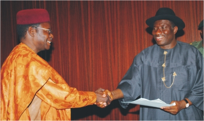 President Goodluck Jonathan (right) in a handshake with Speaker, Economic Community of West African States (ECOWAS) Parliament, Mohamane Ousumane after the latter submitted documents to the President in Abuja, last Friday. Photo: NAN