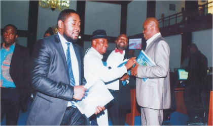 Members of the Rivers State House of Assembly chatting after a plenary session last Wednesday. Photo: Chris Monyanaga.