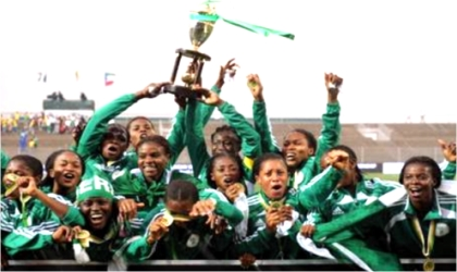 Super Falcons celebrating after winning the AWC title in South Africa, yesterday.