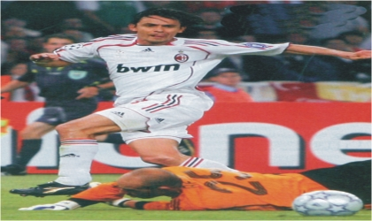 AC Milan's Filippo Inzaghi rounding up a goalkeeper