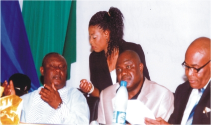 From right: Rivers State Director, National Orientation Agency, Mr Andy Nweye, Speaker, Rivers State House of Assembly, Rt. Hon. Tonye Harry and State Resident Electoral Commissioner, Mr Aniedi Ikoiwak, conferring with Head of Department, Media Affairs, Independent National Electoral Commission, Rivers State, Mrs Anthonia Nwobi, during INEC's stakeholders interactive forum, in Port Harcourt, on Wednesday. Photo: Chris Monyanaga