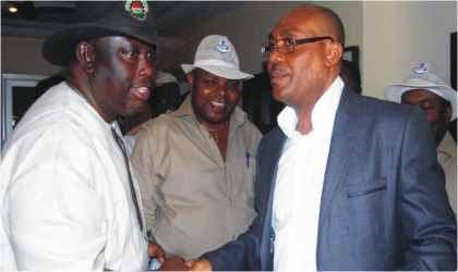 Chairman, Nigeria Labour Congress (NLC), Rivers State, Comrade Chris Oruge (left) with state chairman, National Union of Postal and Telecommunication Employees (NUPTE), Comrade Williams Addah and State Commissioner for Special Duties, Mr Davies Akanya, during NUPTE executive meeting in Port Harcourt, yesterday.