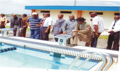 Members of the Main Organising Committee (MOC) and Local Organising Committee (LOC) of the 17th National Sports Festival, inspecting the ultra-modern swimming pool at University of Port Harcourt, one of the facilities for the Garden City Games.