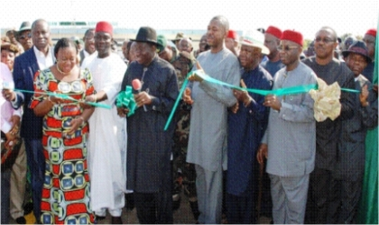 President Goodluck Jonathan (middle) cutting the tape to inaugurate Akanu Ibiam Airport runway in Enugu last Friday. With him (from left) are Sen. Ayogu Eze, Minister of Aviation, Mrs. Fidelia Njeze, Deputy Senate President, Ike Ekweremadu, and (from right are) Governors Ikedi Ohakim of Imo, Peter Obi of Anambra, Martin Elechi of Ebonyi and Sullivan Chime of Enugu states.