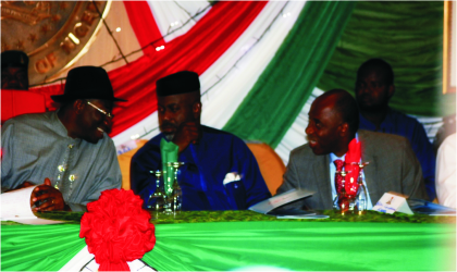 President Goodluck Jonathan (left), Senator Liyel Imoke (middle) and Governor Chibuike Rotimi Amaechi discussing during the South-South delegates meeting in Port Harcourt, yesterday.