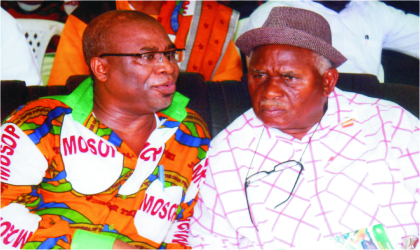 President of Ogbakor Ikwerre, Chief Sampson Agbaru (right) with President, Movement for the Survival of Ogoni People (MOSOP), Barrister Ledum Mitee, during the 19th Ogoni Day celebration in Bori, yesterday. Photo: Chris Monyanaga