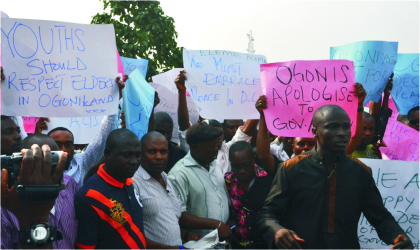 Youths of Ogoniland, led by Chief Gani Topbah on a peaceful demonstration against recent political violence in the area.