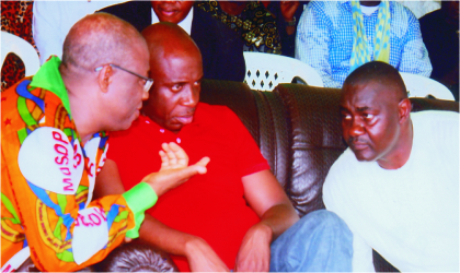 Rivers State Governor, Rt. Hon. Chibuike Rotimi Amaechi (middle) and Secretary to State Government, Hon. Magnus Abe (right) listening to the President, Movement for the Survival of Ogoni People (MOSOP), Barr. Ledum Mitee, during the 19th Ogoni Day celebration at Bori, on Tuesday.
