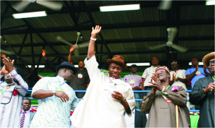 Rivers State Governor, Rt. Hon.Chibuike Rotimi Amaechi (middle) acknowledges victory at the Peoples Democratic Party (PDP) governorship primary held at the Sharks Football Stadium, Port Harcourt, yesterday.