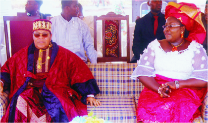 Rivers State Commissioner for Information and Communications, Mrs Ibim Semenitari, who represented Governor Chibuike Amaechi, with the Amanyanabo of Opobo Kingdom, King Dandeson Jaja JP, during the opening ceremony of the 2011 Festival of Opobo International Boat Regatta at Opobo, recently.