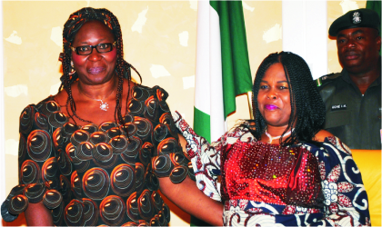 Nigeria's First Lady, Dame Patience Jonathan (right) and Founder, Women, Peace and Development Initiatives, Dr Bolere Ketebu, during the meeting of female leaders and stakeholders from Plateau State at the Presidential Villa in Abuja, last Friday.