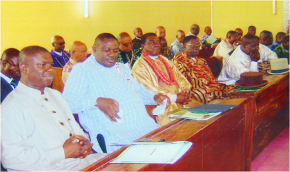 Rivers State Deputy Governor, Engr Tele Ikuru (2nd left) and Commissioner for Works (left) with other chiefs during a thanksgiving service for newly promoted Maj.-Gen. Kenneth Minimah, at St. Paul's Church, Opobo Town, recently.