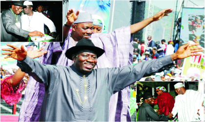 Nigeria's President Goodluck Jonathan and Vice President Namadi Sambo waving to their supporters; Insert (Above), President Jonathan casting his vote during the presidential primaries, Insert (below) Jonathan in a handshake with a presidential aspirant, Alhaji Atiku Abubakar, at the Eagles Square, venue of the Peoples Democratic Party (PDP) primaries held in Abuja, yesterday.