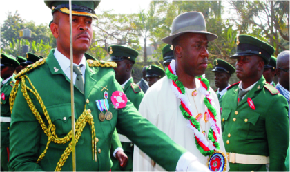 Governor of Rivers State, Rt. Hon. Chibuike Rotimi Amaechi (middle) inspecting a guard of honour at the 2011 Armed Forces Remembrance Day celebration held at the Isaac Boro Park, Port Harcourt, last Saturday.