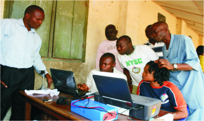 Registration of voters taking place at a designated ward in Port Harcourt, Rivers State, last Saturday.