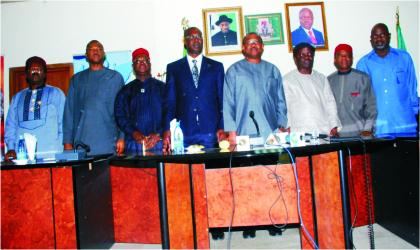 From right: Governors of South-South, South-East geo-political zone, Liyel Imoke (Cross River State), Theodore Orji (Abia State), Emmanuel Uduaghan (Delta State), Peter Obi (Anambra State and chairman of occasion), Timipre Sylva (Bayelsa State), Martins Elechi (Ebonyi State), Sullivan Chime (Enugu State) and Patrick Ekpotu (Akwa Ibom) after their meeting at Government House, Asaba, Delta State, in support of Jonathan's victory at the Peoples Democratic Party Presidential Primary, yesterday.
