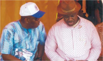 Rivers State Deputy Governor, Engr Tele Ikuru (right) chatting with the Special Adviser to the Governor on Niger Delta Development Commission (NDDC),Mr Godknow Tam-George during a public function in Port Harcourt, recently.