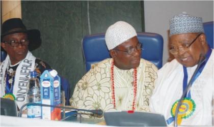 L-R: Chairman, Aba State Movement, Eze Love Wogu, Ijeni 1, Olu of Famia, Ile-ife, Osun State, Oba Kamoru Akinyele and former Senate President, Dr Joseph Wayas, during a national conference on creation of states in Abuja, yesterday.